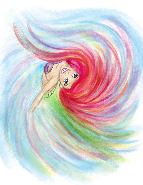 Ariel in swirly colored pencils. Pretty. Tumblr