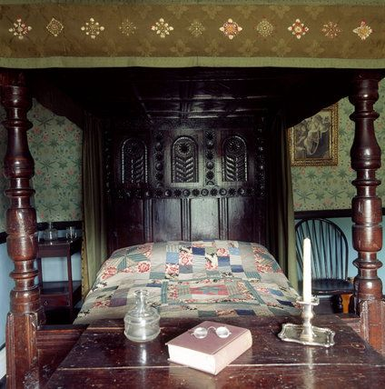 Beatrix's bedroom at Hilltop...a four-poster with hand-sewn patchwork quilt, her Bible and her reading glasses