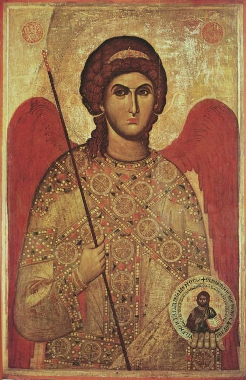 .:. Religious icon of the Archangel Michael, dating from the 15th century. Currently housed in the Church of Panagia Angeloktisti, Kition, Cyprus.