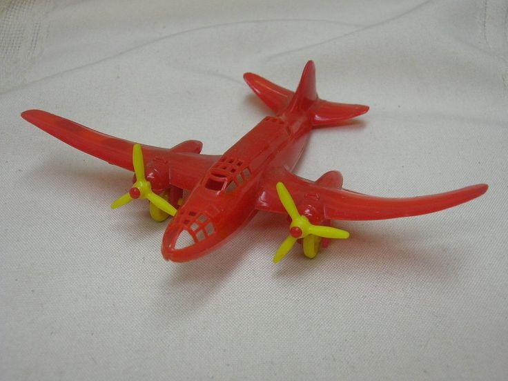Vintage Thomas Toy Airplane Plastic Red & Yellow #ThomasToy