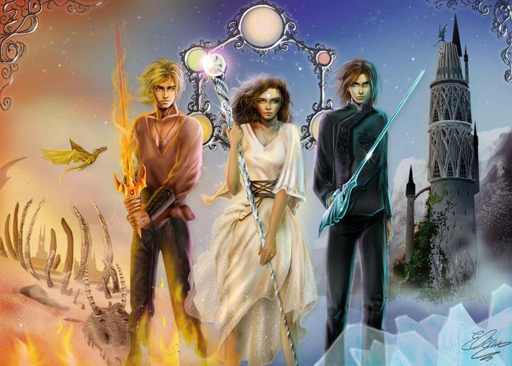 Los protagonistas de Memorias de Idhún: Jack/Yandrak, Victoria/Lunnaris y Kirtash (por este orden).