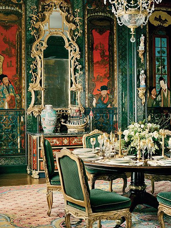 Characterized by whimsical contrasts of scale and asymmetrical, fanciful imagery, most often imaginary, chinoiserie (pronounced sheen-waz-er-ee) is an evoc