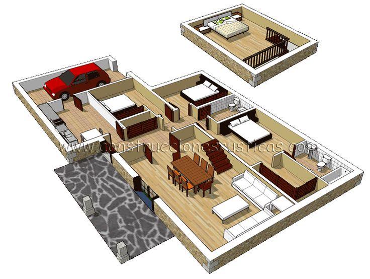 3d de distribuci n interior de casa r stica de piedra de for Planos de casas 3d