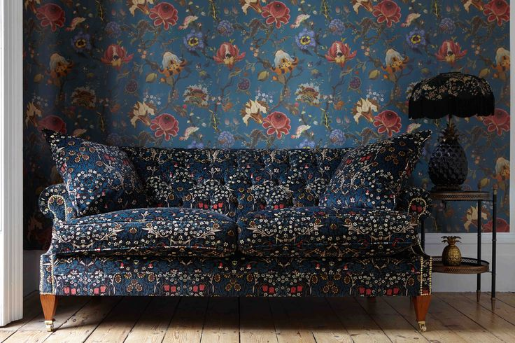 Part of the HOUSE OF HACKNEY x WILLIAM MORRIS AW15 collection: Artemis Petrol Wallpaper http://www.houseofhackney.com/artemis-wallpaper-petrol.html, Blackthorn Teal Velvet Cushion http://www.houseofhackney.com/blackthorn-large-velvet-cushion-teal.html, Blackthorn Teal 'Wilton' Sofa, http://www.houseofhackney.com/blackthorn-wilton-sofa-teal.html