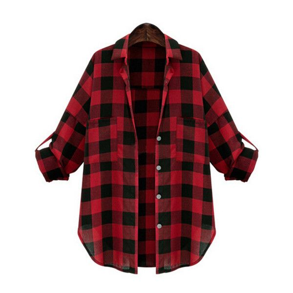 Lapel Plaid Buttons  Blouse ($14) ❤ liked on Polyvore featuring tops, blouses, shirts, plaid shirt, red, plaid blouse, elbow sleeve shirt, collar blouse, red tartan shirt and half sleeve shirts