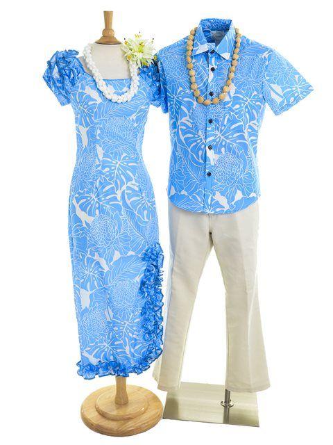 [Aloha Outlet限定]ナオミロングスリットドレス【プロテア&モンステラ/ブルー】 - フラダンス衣装 - フラ用品 | アロハアウトレット セレクトショップ