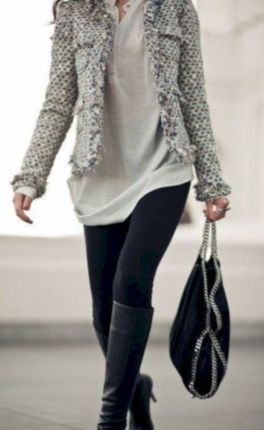 Like the texture of the jacket and the length of the shirt with the leggings. Not sure about the OTK boots though.