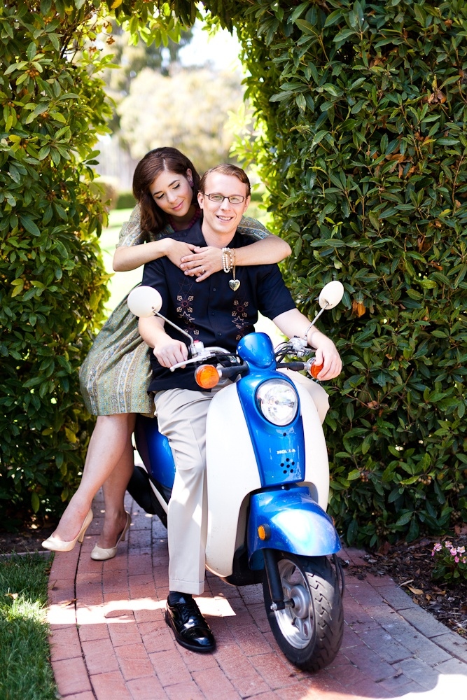 A cute, classic pose with scooter | Mad Men themed #engagement shoot from @moxiethrift on etsy Valentine  #MadMen