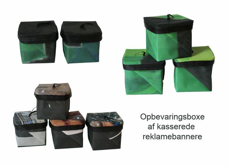 # Boxe af kasserede reklamebannere og cykelslanger # Boxes made of discarded advertising banner and inner tubes