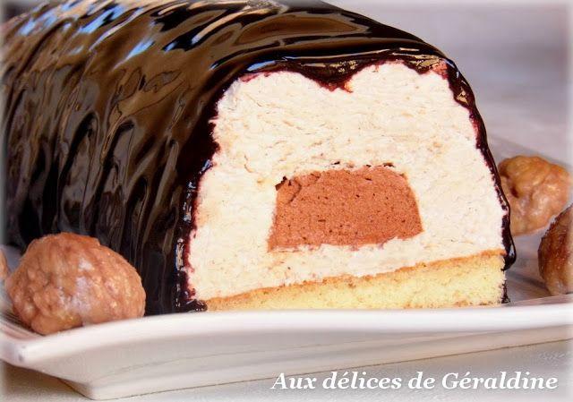 Bûche bavaroise crème de marron, coeur de mousse au chocolat, glaçage brillant au chocolat