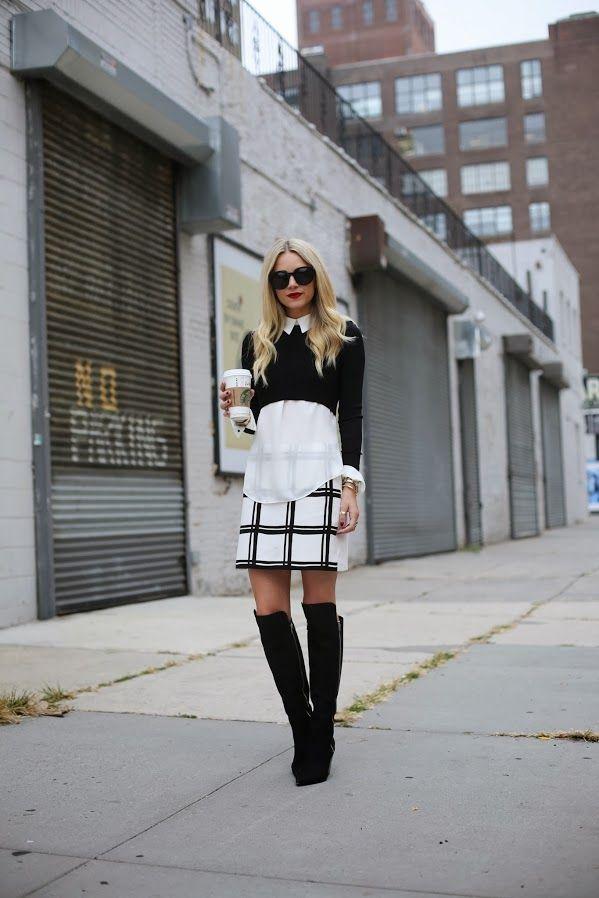 Top: ALC via Neiman Marcus (love the back detail). Skirt: Tibi. Boots: Sirgerson Morrison. Sweater: Zara. Sunglasses: Karen Walker 'Super Du...