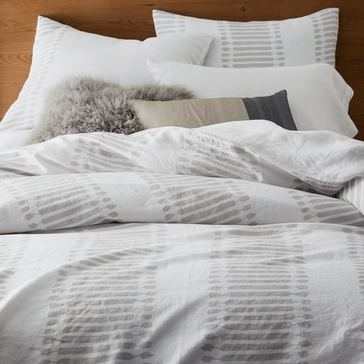 Luxurious and cozy, the Belgian Flax Linen Ikat Stripe bedding gives a modern refresh to traditional ikat printing.