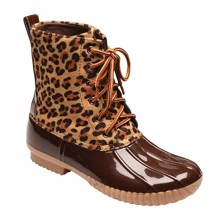 Women's Duck Boots - Sweet And Sassy Animal Print - Leopard - Size 10 * Want additional info? Click on the image.