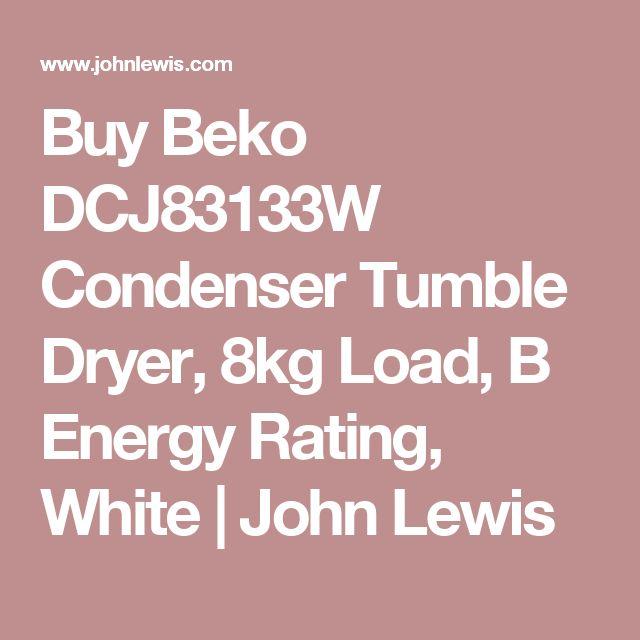 Buy Beko DCJ83133W Condenser Tumble Dryer, 8kg Load, B Energy Rating, White | John Lewis