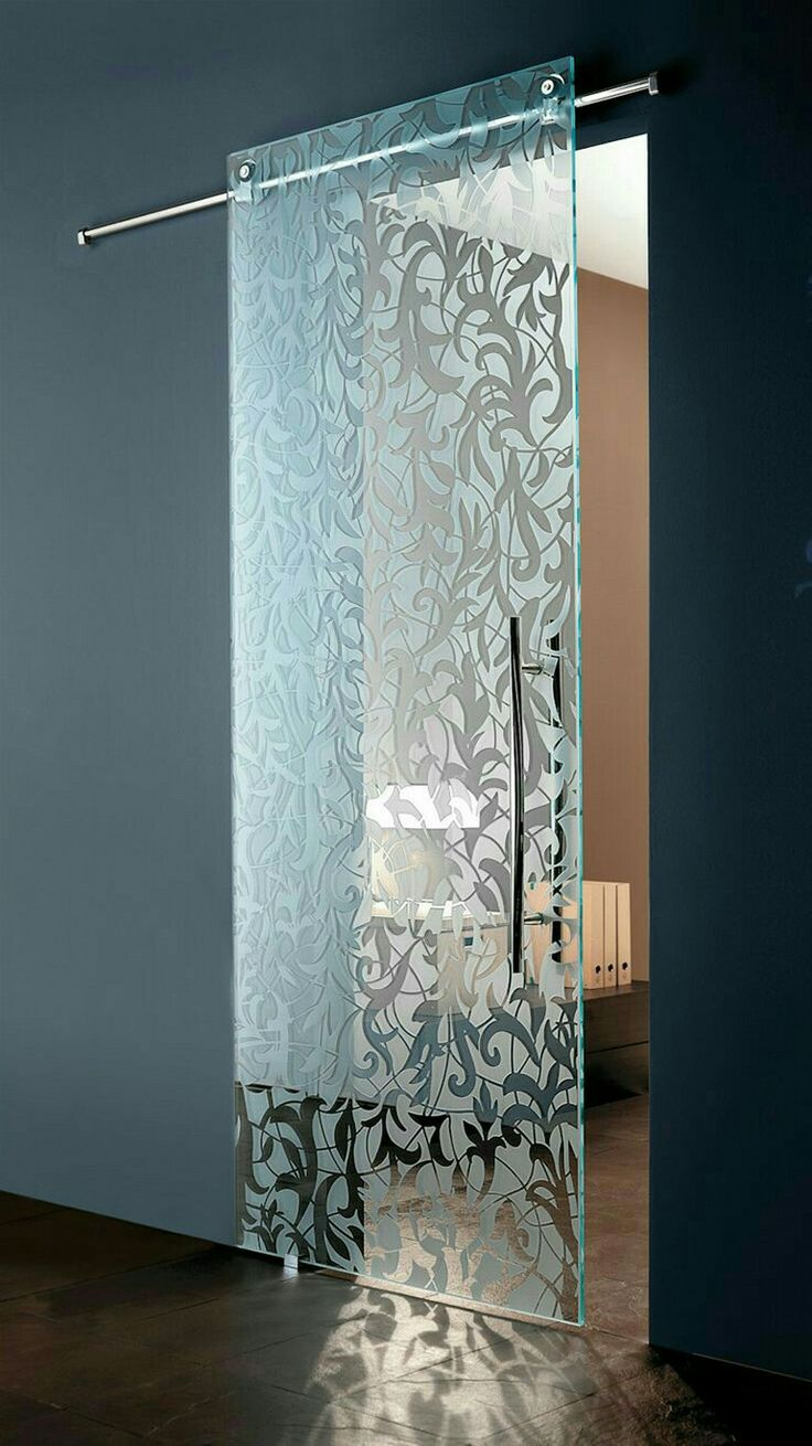 Modern Italian sliding etched  glass door - by European Cabinets & Design Studios