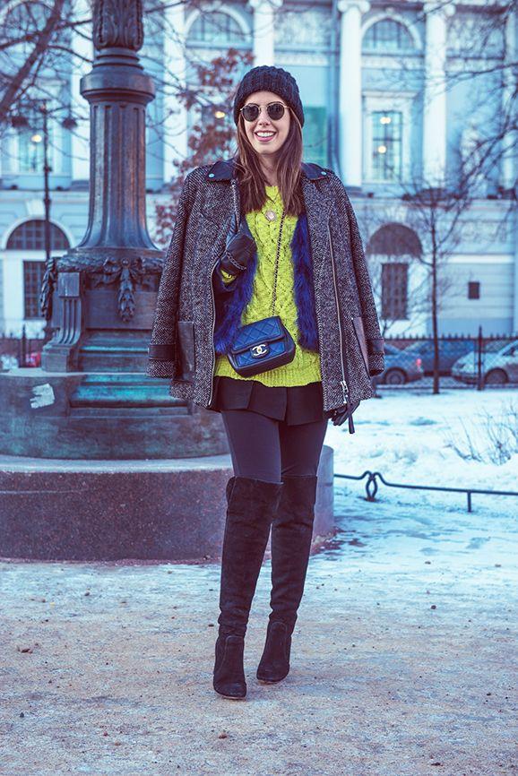 não vou enfrentar um frio desses onde moro, claro! mas gostei da ideia de sobreposições com peças coloridas... #garotasestúpidas