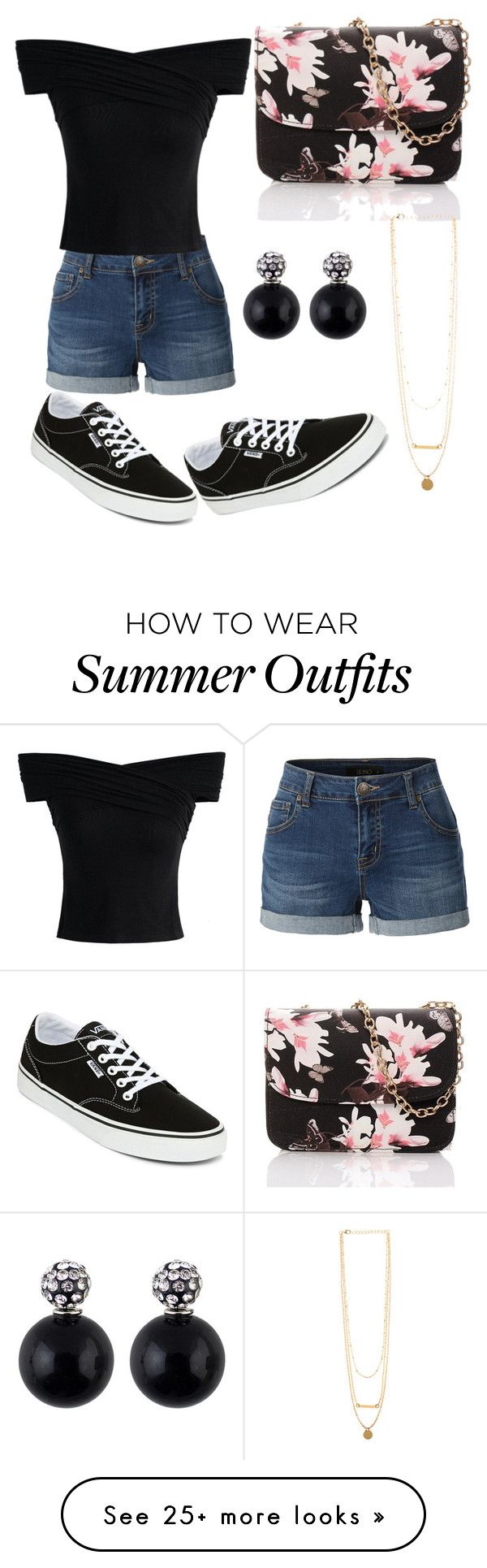 """Summer outfits #1"" by thediamondkitty on Polyvore featuring LE3NO, Vans and Chicwish"