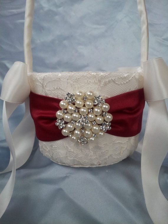 Ivory Flower Girl Basket Dark Red Flower Girl Basket by Allofyou, $39.00