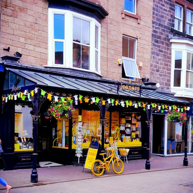 Tour de france bunting and window display at Jespers Harrogate