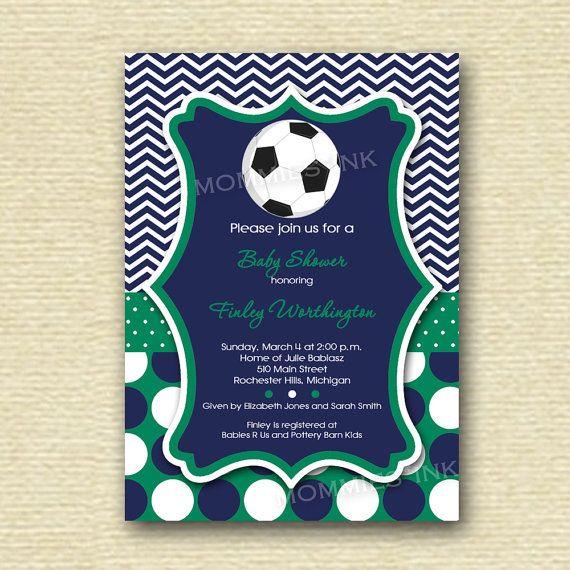 Chevron And Polka Dot Soccer Baby Shower Invitation