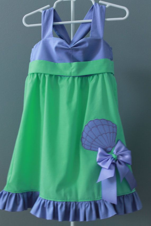 Disney Princess Inspired Little Mermaid Dress for Girls with Hairbow! Check out Sara Macy Moo Boutique! More Disney inspired dresses coming soon!