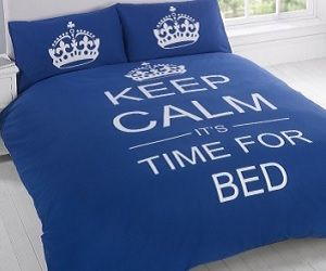 Add some retro chic to your bedroom with this keep calm bedding set! As you climb into bed each evening after a long hard day, the printed slogan will remind you to 'keep calm, it's time for bed'. Available in a variety of colors. Awesome!