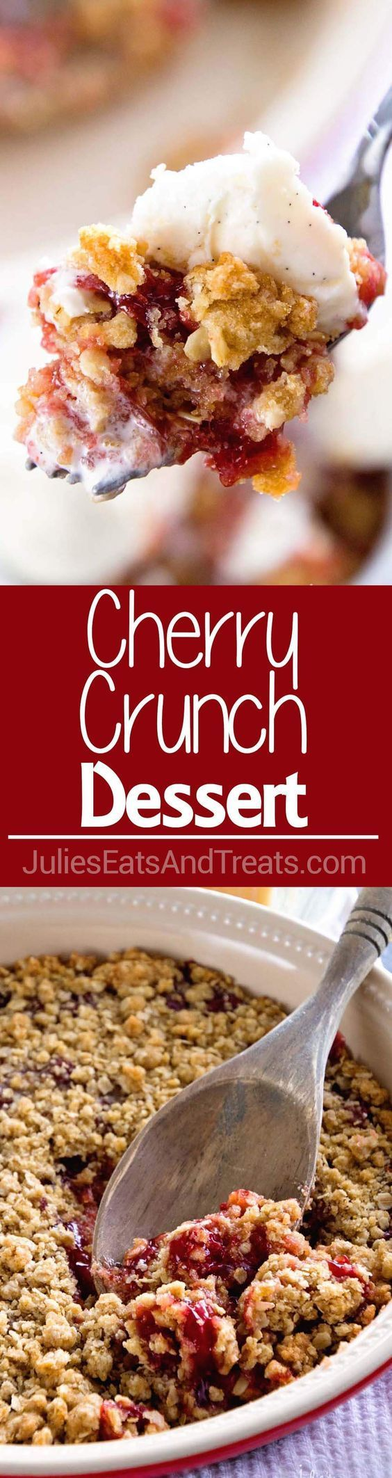 Cherry Crumble Pie ~ a quick, easy, and delicious dessert with a decadent crumb crust, a yummy cherry pie filling, and tons of crunchy crumb topping!