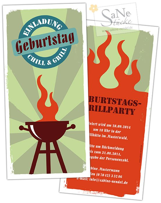 Einladungskarte Zum Geburtstag Grillparty