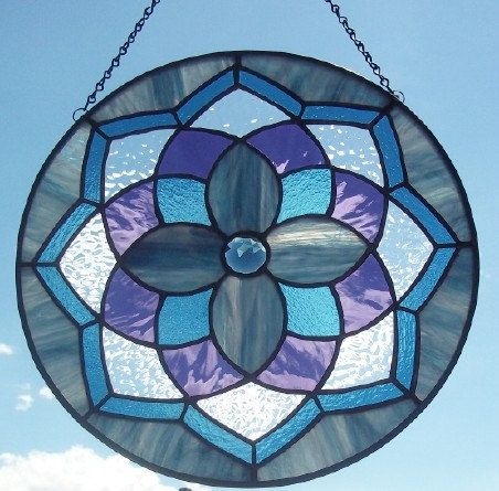 STAINED GLASS - The Lakes Blue Purple Mandala Stained Glass Window Panel Suncatcher 14 inches 135.00