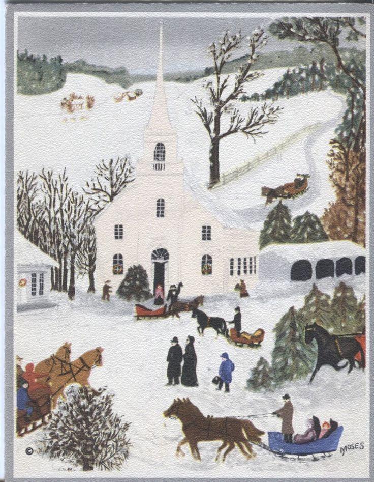 "Vintage Hallmark Christmas Card - Grandma Moses - ""Church Christmas Tree"":"