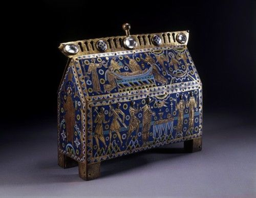 "From the V: ""Relics of [Thomas] Becket were much in demand and were often housed in elaborate caskets. Numbers of these survive today, scattered worldwide, most made of Limoges enamel, like this example. The V chasse is the most elaborate, the largest, and possibly the earliest in date. It is a magnificent example of Romanesque art, probably made for an important religious house."""