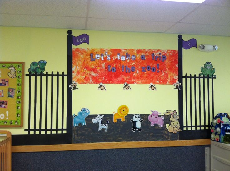 Preschool Classroom Decoration For Christmas ~ Zoo themed classroom large wall display