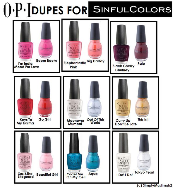 ♥OPI Dupes For Sinful Colors♥ I love my OPI and Sinful Colors but for some reason I don't have an issue paying for OPI colors. Very interesting. It's the only brand I'll actually pay for. Hmm