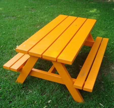 Build a Bigger Kid's Picnic Table, free plans from Ana White Homemaker. Seats a small adult, too.