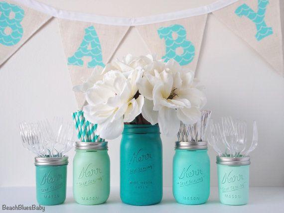 Boy Baby Shower Centerpiece Vase Mason Jars Blue by BeachBluesBaby