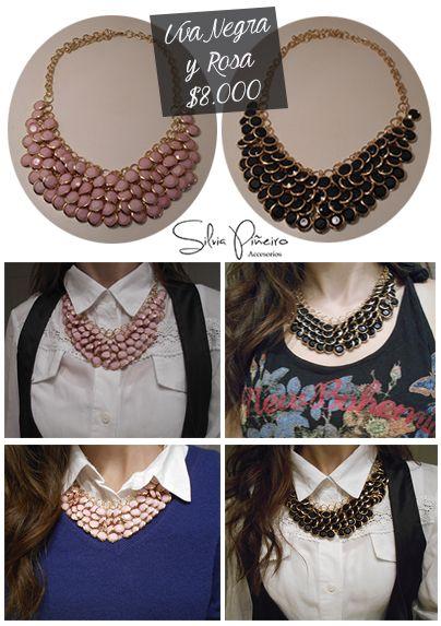 ¿Un toque de movimiento? Juega con la textura en tu atuendo con este collar en rosa y negro. 51-58cm de largo.