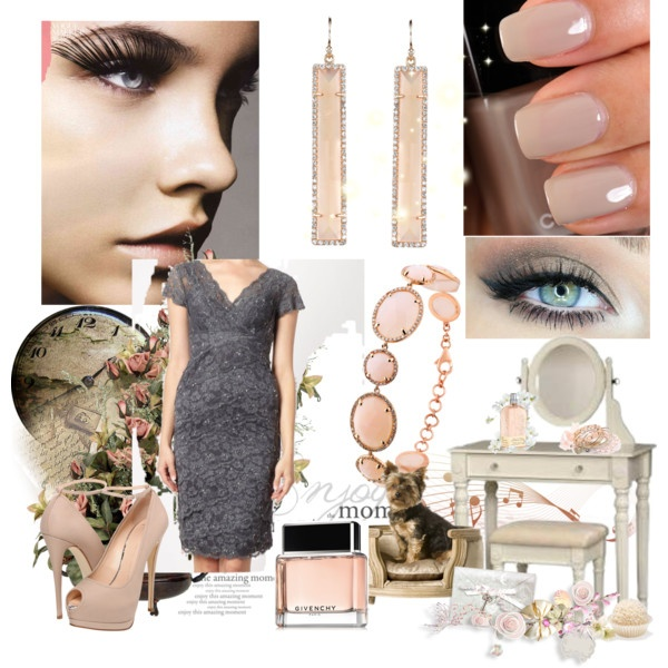 """""""grey and blush"""" wedding guest outfit inspiration by jessica-peetz on Polyvore"""