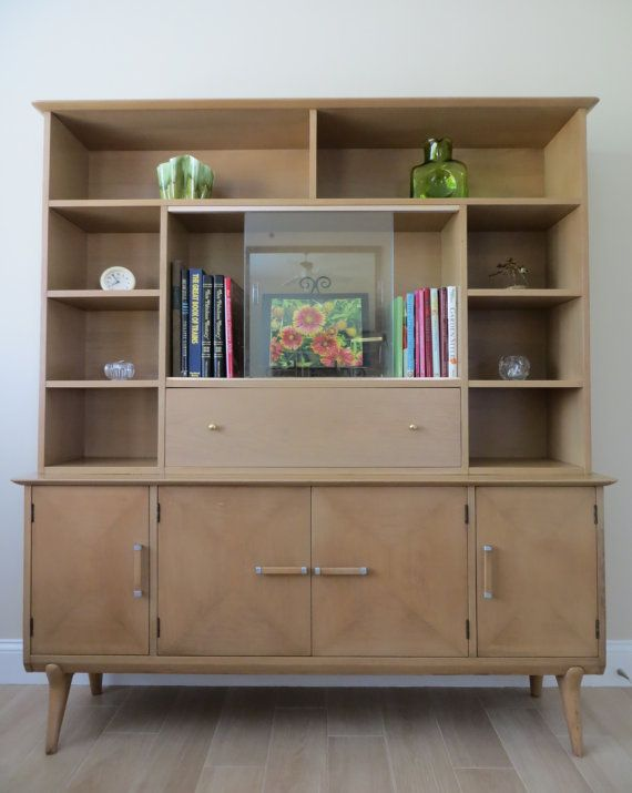 reserved mid century modern renzo rutili hutch wall unit display cabinet bookshelf birch