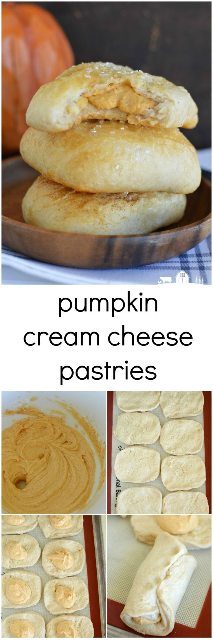 Pumpkin Cream Cheese Pastries– A buttery, flaky pastry filled with a surprise of decadent pumpkincream cheese filling on the inside.:
