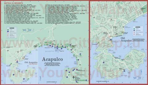 Подробная туристическая карта города Акапулько с отелями