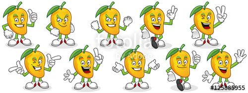 "Download the royalty-free vector ""Vector character pack of mango, mango mascot set, mango cartoon."" designed by ednal at the lowest price on Fotolia.com. Browse our cheap image bank online to find the perfect stock vector for your marketing projects!"