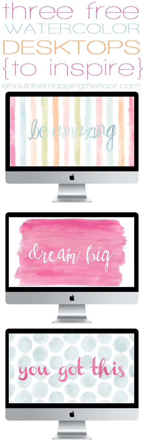 3 Free Watercolor Desktop Wallpapers ~ standard sized instant downloads | ishouldbemoppingthefloor.com