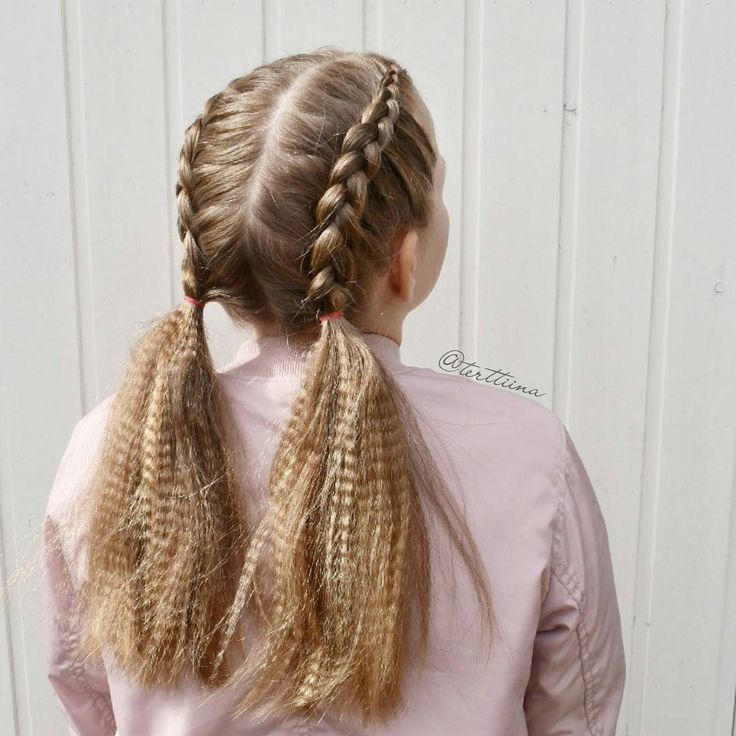 "Hair  by Terhi A (@terttiina) Instagramissa: ""Dutch braids into crimped pigtails #dutchbraids #pigtails ~ ~ #featureaccount_ #featuremebraids…"""