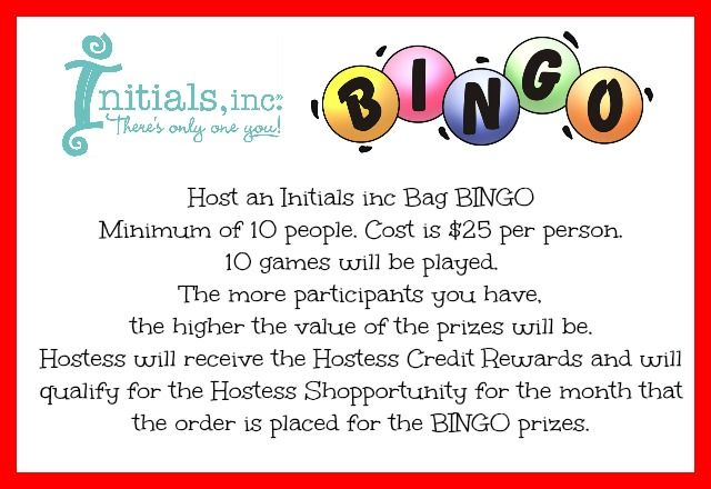 Contact me to schedule your Initials inc Bag BINGO Kathy Bowen, Independent Creative Leader located in Maryland www.myinitials-inc.com/kathybowen pursepartybiz@gmail.com Call or Text 410.200.7704