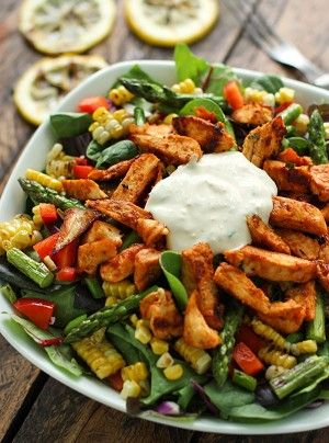 This is a recipe for a basic salad with grilled chicken, corn on the cob and asparagus in it and includes a homemade BBQ sauce recipe.