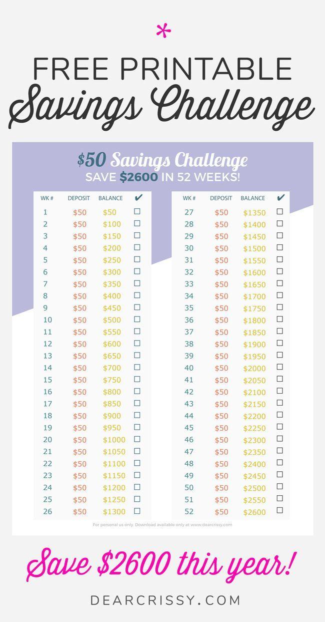 Easy 50 Money Savings Challenge Save 2 600 This Year Money Saving Strategies 52 Week Money Saving Challenge Money Saving Challenge