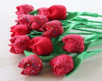 Ramo de tulipán de tela ramo de flores de tela tela algodón de aniversario de tulipanes rojos flores algodón bouquet cumpleaños ramo nueva mamá rojo flores