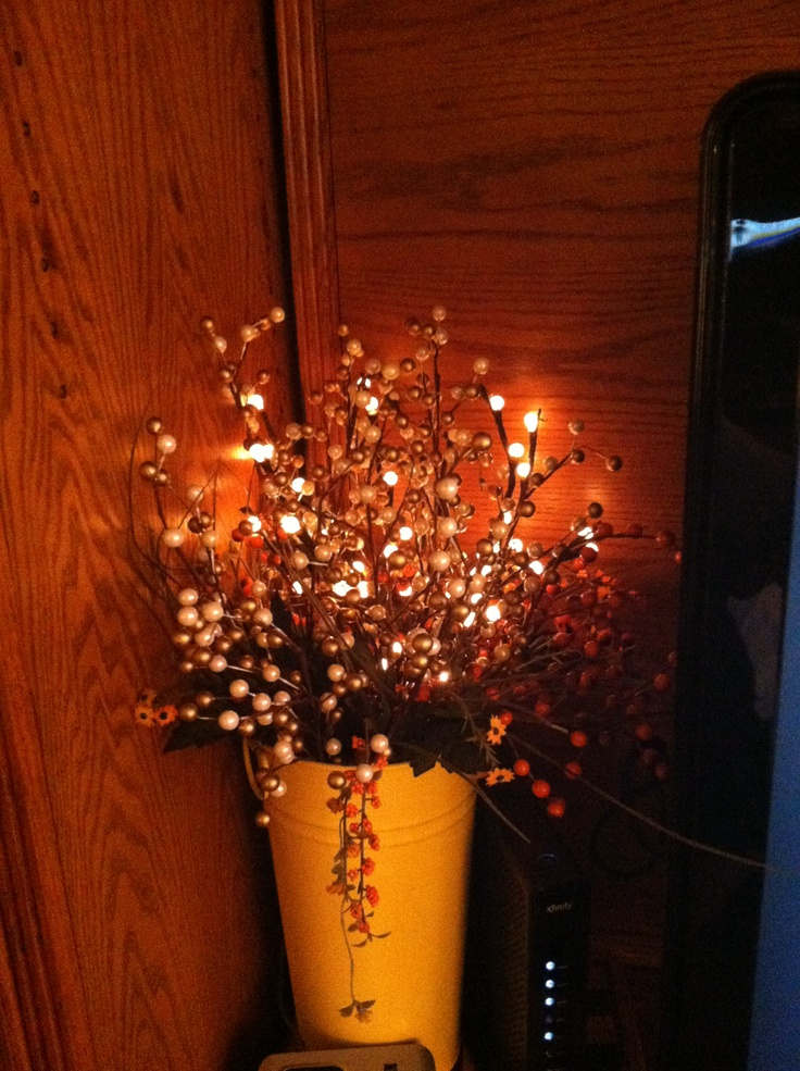 arrangement with lighted branches makes a nice night light