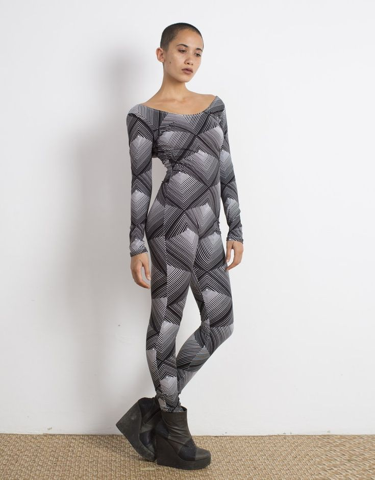 Pyramid Print Catsuit Organic Cotton