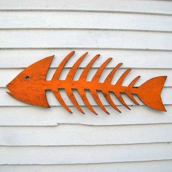 Fish Skeleton Sign Wooden Fish Art Beach Cottage Fish Decor